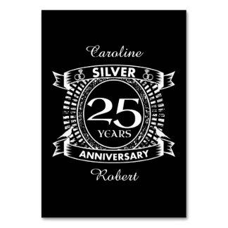 25to escudo de la plata del aniversario de boda tarjeta