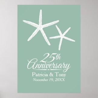 25to Estrellas de mar del aniversario de boda Póster