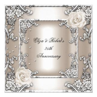 25to Fiesta de plata subió crema del boda del Invitación 13,3 Cm X 13,3cm