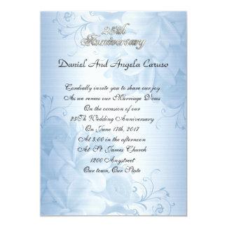 25to Floral azul de la invitación del aniversario