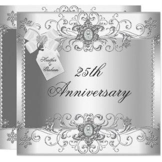 25to Invitación blanca de plata del diamante del