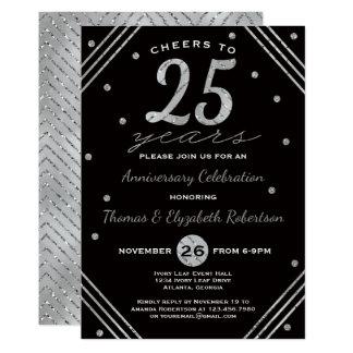 25to Invitación de la fiesta de aniversario, falsa