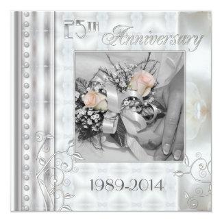 25to Invitación de la foto del aniversario de boda