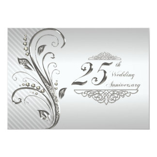 25to Invitación del aniversario de boda Invitación 12,7 X 17,8 Cm