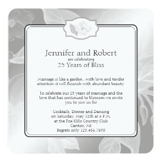 25to Invitación del aniversario de boda de la
