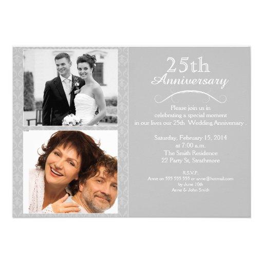 25to Invitación del aniversario de bodas de plata
