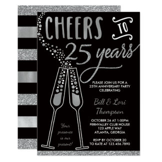 25to Invitación del aniversario, falso brillo/hoja