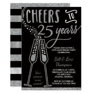 25to Invitación del aniversario, plata, negra