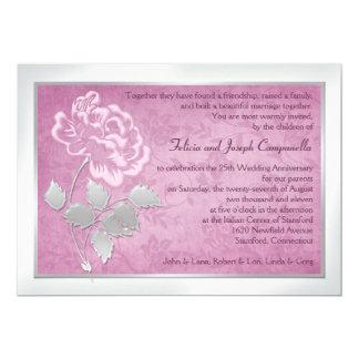 25to Invitación rosada del Peony del aniversario