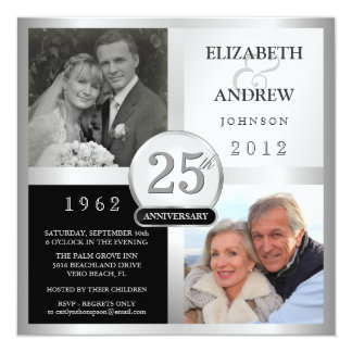 25to Invitaciones de la fiesta de aniversario - 2 Invitación 13,3 Cm X 13,3cm