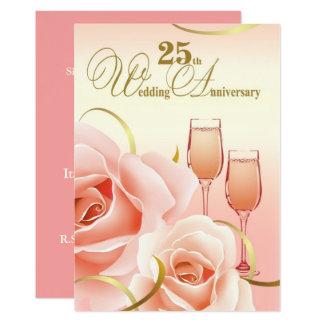 25to Invitaciones de la fiesta de aniversario de Invitación 12,7 X 17,8 Cm