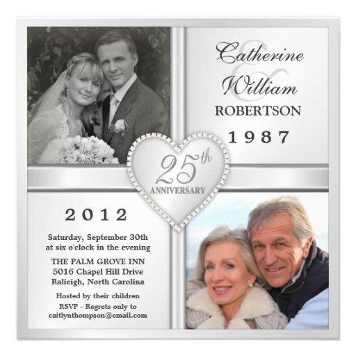 25to Invitaciones de plata de la foto del corazón Invitacion Personalizada