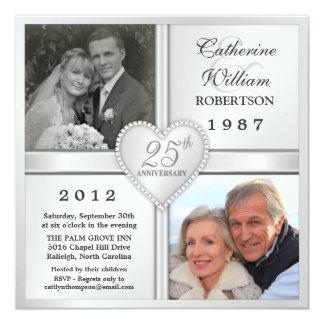 25to Invitaciones de plata de la foto del corazón Invitación 13,3 Cm X 13,3cm