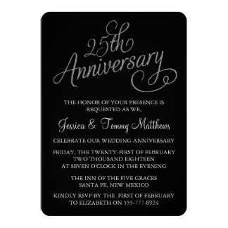 25to Invitaciones del aniversario de bodas de Invitación 12,7 X 17,8 Cm