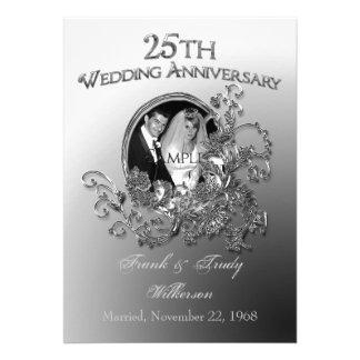 25to Invitaciones del aniversario de bodas de plat Invitacion Personalizada