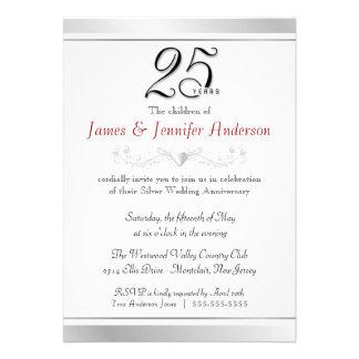 25to Invitaciones del aniversario de bodas de plat Comunicados Personalizados