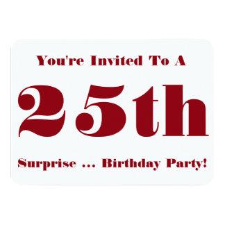 25to La fiesta de cumpleaños de la sorpresa Invitación 11,4 X 15,8 Cm
