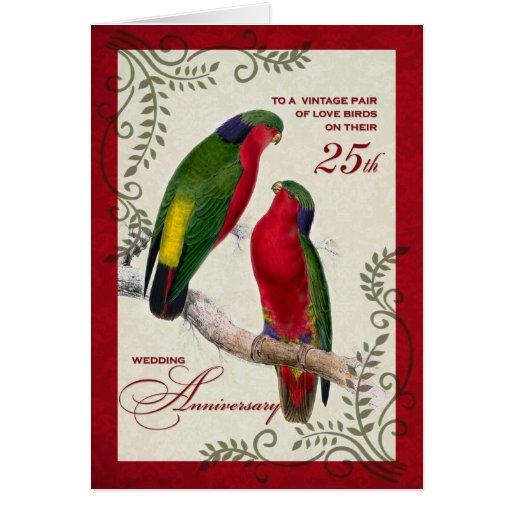 25to Loros de Lorikeet del vintage del aniversario Tarjeton