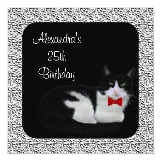 25to Marco negro y blanco del cumpleaños del gato Invitaciones Personalizada