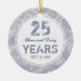 25to Monograma de Paisley del aniversario de bodas Ornamento De Navidad