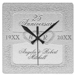 25to Monograma del aniversario Reloj Cuadrado