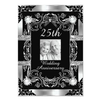 25to negro de la plata del aniversario de boda de invitación 12,7 x 17,8 cm