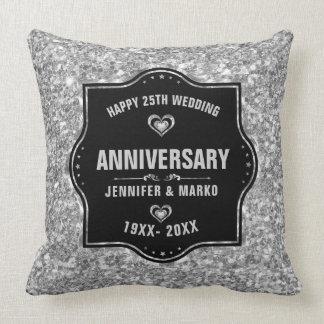 25to Negro del aniversario de boda y purpurina de Cojín Decorativo