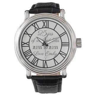25to Números romanos del reloj del aniversario de