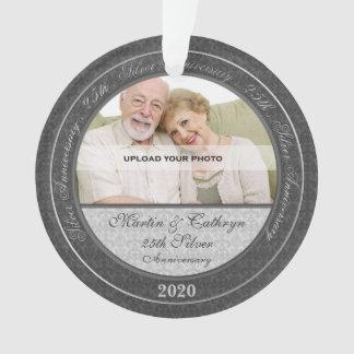 25to Ornamento de plata de la foto del aniversario