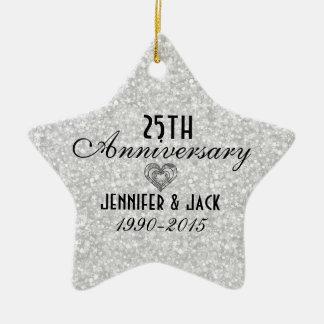 25to ornamento del aniversario de boda del brillo  adorno de reyes