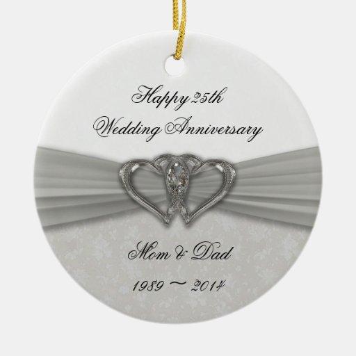 25to ornamento del aniversario de boda del damasco ornamentos para reyes magos