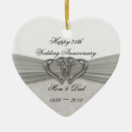 25to ornamento del aniversario de boda del damasco ornamentos de reyes