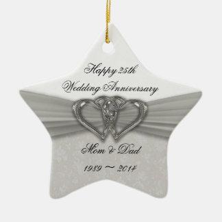 25to ornamento del aniversario de boda del damasco adorno de reyes