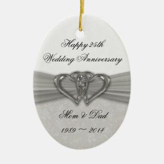 25to ornamento del aniversario de boda del damasco adorno para reyes