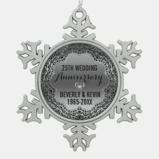 25to ornamento del aniversario de la plata y de adorno de peltre en forma de copo de nieve