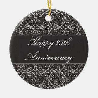 25to ornamento del aniversario del racimo gris de adorno redondo de cerámica