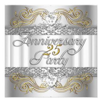 25to Oro blanco de la plata del aniversario de bod Anuncios Personalizados