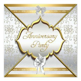 25to Oro de plata blanco elegante de la fiesta de Invitación 13,3 Cm X 13,3cm