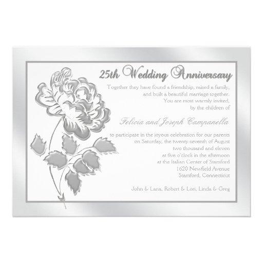 25to Peony de plata del aniversario en el lino bla Invitaciones Personalizada