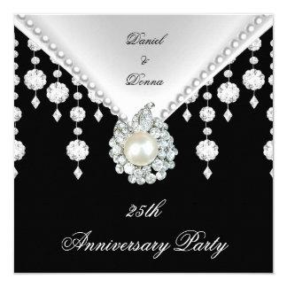 25to Perla blanca negra de plata 2 del aniversario Invitación 13,3 Cm X 13,3cm
