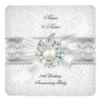 25to Perla de plata del cordón de la fiesta de Invitación 13,3 Cm X 13,3cm