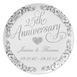 25to Placa decorativa del aniversario de bodas de Plato De Comida