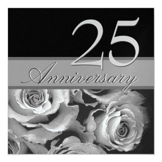 25to Plantilla metálica de los rosas de plata del Invitación 13,3 Cm X 13,3cm