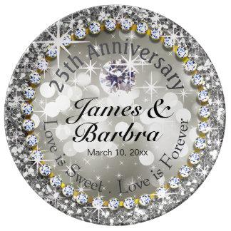 25to Plata glamorosa de Bling el | del diamante Platos De Cerámica