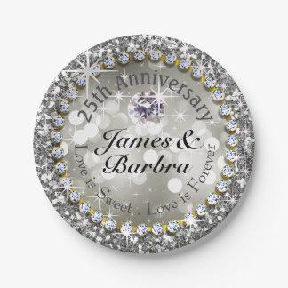 25to Plata glamorosa de Bling el | del diamante Platos De Papel