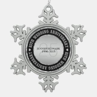 25to Plata metalizada y negro del aniversario de Adorno
