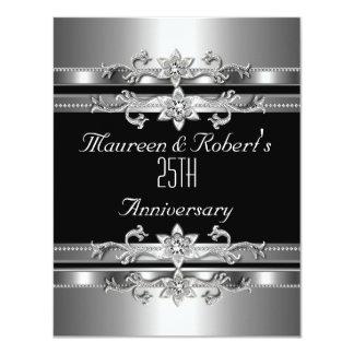 25to Plata negra elegante de la invitación del