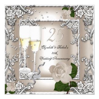 25to Plata subió crema del boda del aniversario Invitación 13,3 Cm X 13,3cm