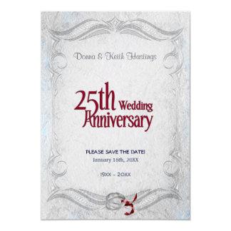 25to Plata y aniversario de Borgoña Invitación 12,7 X 17,8 Cm