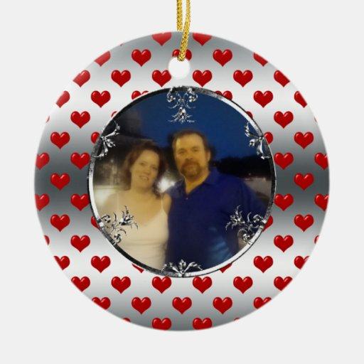 25to Recuerdo de la foto del aniversario de bodas  Ornamento Para Reyes Magos